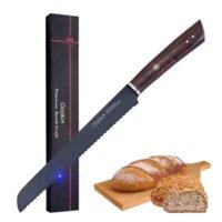 Brödkniv, tyska högkola rostfria stålkvalitetsbrödskivande knivar, 9-tums serrated kantkaka-kniv, brödskärare för hemlagad crusty-bröd