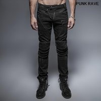 Steampunk metal multicapa tela decoración hip hop jeans gótico militar delgado ajuste streetwear hombre lápiz pantalones punk rave k-239 hombres