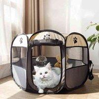 Caja de perro plegable portátil para perros Casas de la tienda Playpen Puppy Kennel Cat House Octagon Cerca al aire libre para pequeños perros grandes Gatos CRAVE 210401