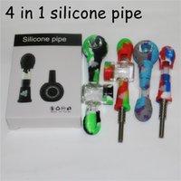 Silikon-Tabak-Raucherpfeifen Nektar-Kollektor-Kit mit 14mm domellosen Titan-Nägeln DAB-Öl-Rigs-Glasbongs