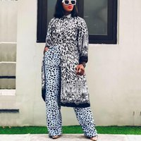 Ethnic Clothing 2 Two Piece Set Women Fall Clothes African Dresses For Tracksuit 2021 Party Long Sleeve Tops Pants Suits Outfits Plus Size