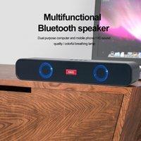 Card U Disk Strip Computer Audio Bluetooth-compatible Subwoofer TV Echo Wall RGB Dual Speaker Wireless HiFi Portable