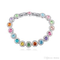 Fashion Real Round Crystal From Swarovski Silver Color Zircon Bracelets Bangle For Women Wedding Jewelry Accessories Gift