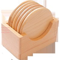 6pcs set Wooden Coasters Set Round Beech Wood Cup Mat Bowl Pad Coffee Tea Cup Mats Dinner Placemats Cup Holder Home Kitchen Tools DBC VT1151