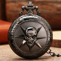 Pocket Watches Steampunk Black 3D Skull Quartz Game Souvenir Pendant Watch Antique Cool Clock Gifts Men Women