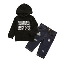 Clothing Sets 2021 Infant Kids Baby Boys Fashion 2-piece Winter Outfit Set Letter Print Hoodie+Ripped Jeans For 6M-4T