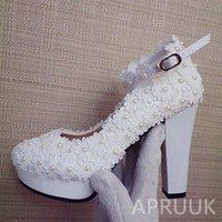 Dress Shoes 11CM Super High Block Heels Lace Wedding Bride Ivory Pearls Ankle Straps Bridal Ladies Party Platforms Pumps Shoe