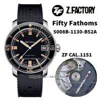 2021 ساعات عمل ZF 5008B-1130-B52A خمسون Fathoms Barakuda Limited Edition Cal.1151 AutoAmtic Mens Watch Black Dial Black Serap Strap Sports Gents