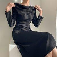 Нерегулярные белые черные женщины платье лето с длинным рукавом женские элегантные косой шеи сексуальная вечеринка ES халат Vestido 13067 210512
