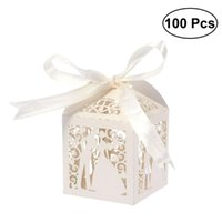 Gift Wrap 100 stks Paar Design Luxe Lase Cut Wedding Sweets Snoep Gunstdozen met Lint Tafeldecoraties (romig wit)