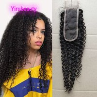 Peruvian Human Hair 2X6 Lace Closure Deep Wave kinky Curly Straight Body Wave 5 Pieces lot Top Closures Yaki Straight 10-24inch Natural Color
