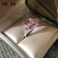 OEVAS 100% 925 Sterling Silver Sparkling Square Pink Yellow White High Carbon Diamond Wedding Rings For Women Fine Jewery Gifts