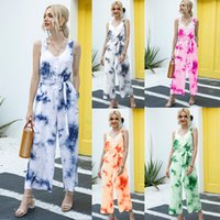 Jumpsuits & Romp Elegant Tie Dye Camisole Long Sleeveless V-Neck Wide Leg Playsuit Romper Belt Overall Holiday Women's Womail Women Jumpsuit