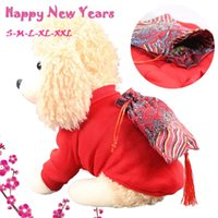 Dog Apparel Selling 2021 Products Pet Cat Year Blessing Bag Tassel Warm Clothing Dress Thicken Clothes Drop Wholesale