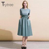 Повседневные платья Trytree 2021 осень зима женские платья O-шеи оборками лоскутное карманы свободные моды твердого офиса леди длина колена