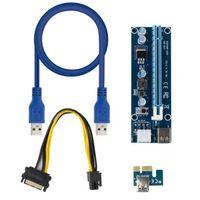 Ver007s اللوحات الأم 007s pci-e الناهض pcie1x to16x risers بطاقة محول 60cm كابل usb ل bitcoin التعدين 10 قطع الأزرق