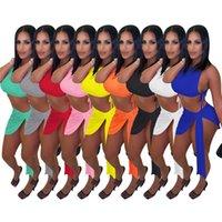 Summer Women Rib Twee Punto Dos piezas Conjuntos Top Top + Vendaje Mini Falda Plus Tamaño 2xl Sexy Night Clue Wear Solid Outfits 5386