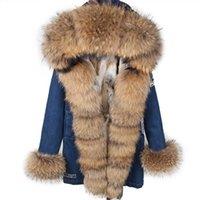 MAOMAOKONG Fur coat Real Fur denim Coats Winter Jacket Parkas Hooded Real Rabbit Fur Liner Women's jacket 211013