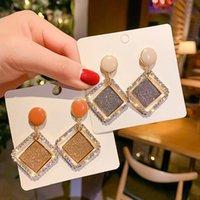 Dangle & Chandelier Real 925 Sterling Silver Needle Earrings For Women Jewelry Rhombus CZ Rhinestone Drop Earrings