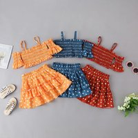 Kinder Kleidung Sets Mädchen Outfits Kinder Sling Trägerlose Ruffle Tops + Punkte Röcke 2 teile / satz Sommer Boutique Mode Baby Kleidung