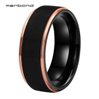 Wedding Rings Black Tungsten Carbide Ring Rose Gold Step Edges Men Women Band Width 8MM Box Available
