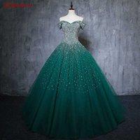 Emerald Verde Green Lusso Abiti da sera Partito Belle donne Sequin Beaded Prom Plus Size Abiti da sera formale Abiti