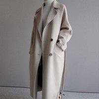 Winter Women Lapel Neck Wool Blend Coat Belt Pocket Long Trench Jacket Outwear
