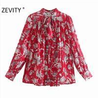 Zevity جديد إمرأة أزياء الأزهار طباعة أحمر بلوزة مكتب سيدة طويلة الأكمام القوس تعادل عارضة قميص شيك قميص blusas قمم LS7293 210419