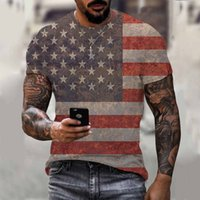 Men's T-shirts 2021 Summer 3d Digital Color Printing Short Sleeve Round Neck T-shirt American Flag Fashion New Product