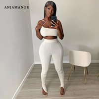 Sexy 2 Piece Sets Womens Summer Bodycon Outfit Club White Sporty Two Set Crop Top Slit Pants Leggings D87-CD31 Women's Tracksuits