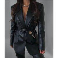 Qinjoyer mulheres PU couro blazer bolsos separação colarinho blazer único breasted preto jaqueta de couro preto casaco casual
