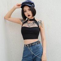 Kadınlar Bayan Tankları Yaz Yelek Kırpma Üst Kolsuz Rahat Halter Tank Tops Seksi Yaz Kadın Giyim Streetwear
