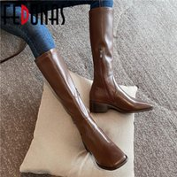 Boots FEDONAS Concise Side Zipper Genuine Leather Knee-High Ladies Square Tor Thick Heels Pumps Winter Party Basic Shoes Woman