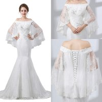 Mermaid Wedding Dresses Bridal Gowns Lace Beaded In the Upper Body Sheer Sleeves Train Elegant Lace-up