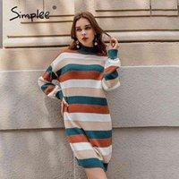 Simplee Örme Renk Şerit Kazak Elbise Jumper Gevşek Uzun Kollu Kadınlar Sıcak Kazak Zarif Patchwork Damla Omuz Jumper 210406