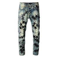 유럽 거리 착용 망 청바지 Luxurys 브랜드 연필 슬림 피트 캐주얼 남성 Jeans 씻어 레트로 찢어진 접이식 스티치 남자 디자이너 모토 바이커 데님 바지