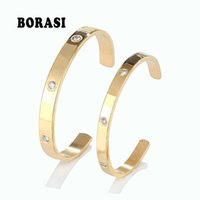 Fashion Classic Crystal Cuff Bracelet for Women men Gold Color Stainless Steel Bracelets & Bangles Couple Love Jewelry