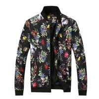 Veste de coton floral IDOPY HOMME Spring Summer Flower Imprimé coréen Style coréen Slim Fit Baseball Manteau d'extérieur pour les vestes masculines pour hommes