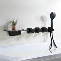 Torneiras de pia do banheiro Preto Chuveiro escondido torneira de chá de banheira de banheira de parede e misturador frio banheira de água Tap1