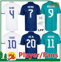 21 22 Gerçek Madrid Futbol Formaları Tehlike Alaba Benzema Asensio Modric Marcelo ISCO 2021 2022 Ev Uzaktan Futbol Gömlek Kids Kit + Erkekler