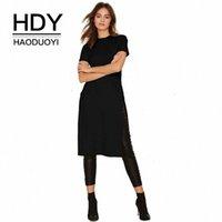 HDY Haoduoyi Стенд шея твердый с коротким рукавом футболка 2018 новое поступление боковой сплит тонкий корпус повседневные элегантные вершины для женщин p0wu #