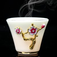 Cups & Saucers White Jade Porcelain Flower Tea Master Cup Enamel Small Mutton Ceramic Teacup