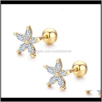 Jewelry7Colors Cute Five Petals Cz Stones Flower Screw Back Stud Earrings For Women Baby Kids Girls Gold Color Piercing Jewelry Aros1 Drop De