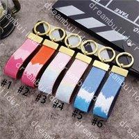 Lusso Fashion Designer Strips Handmade PU in pelle portachiavi auto portachiavi donna sacchetto di fascino ciondolo accessori anti-perso