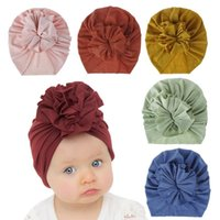 Beanies Baby Hat 2021 Fashion Children Fold Flower Neonatal Cap Knitted Cotton Tire 18 Colors