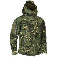 Autunno uomo Camouflage in pile con cappuccio Giacca con cappuccio Abbigliamento tattico Abbigliamento a vento
