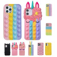 Cell Phone Cases Unicorn Rainbow decompression soft shell 3D cartoon mobile phones case For iPhone 12 11 and more model