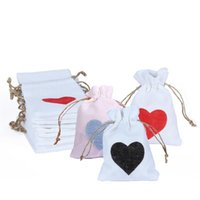 Hanging Baskets 10pcs Heart-shaped Printing Gift Bag Wedding Candy Storage Portable Linen Drawstring Pouch Tied Rope