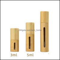 Bottles Packing Office School Business & Industriall 5Ml 10Ml Natural Bamboo Wood Empty Oil Stainless Roll On Ball Per Aromatherapy Bottle D