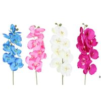 10pcs / lot Lifelike 인공 나비 난초 꽃 실크 phalaenopsis 웨딩 홈 DIY 장식 가짜 꽃 DHD6679